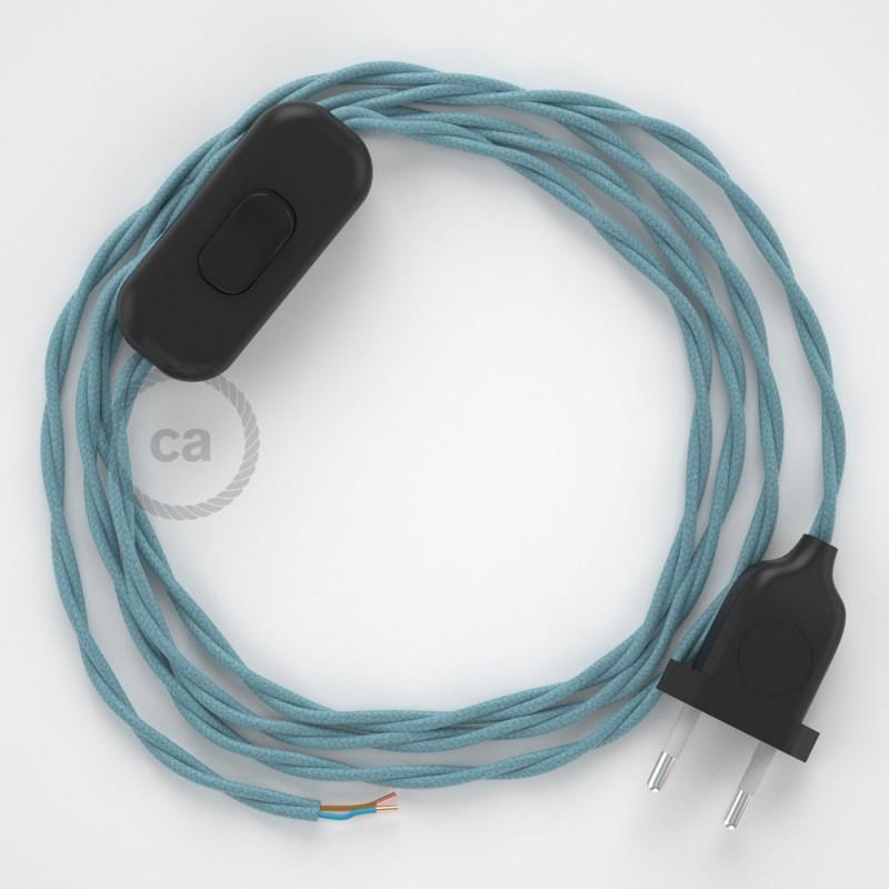 Cordon pour lampe, câble TC53 Coton Océan 1,80 m. Choisissez la couleur de la fiche et de l'interrupteur!