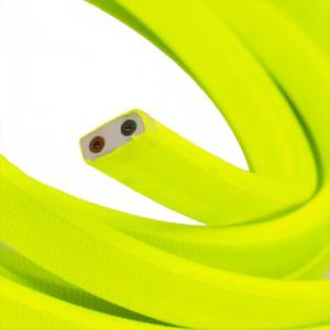 Câble électrique pour Guirlande recouvert en tissu Effet soie Jaune Fluo CF10