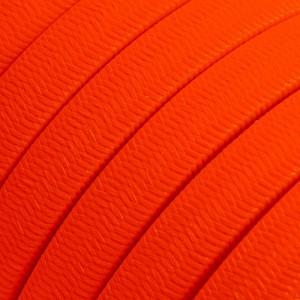 Câble électrique pour Guirlande recouvert en tissu Effet soie Orange Fluo CF15