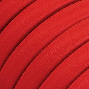 Câble électrique pour Guirlande recouvert en tissu Effet soie Rouge CM09