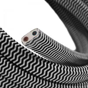 Câble électrique pour Guirlande recouvert en tissu Effet soie ZigZag Blanc - Noir CZ04