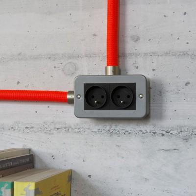Boîte murale en métal avec double prise française pour Creative-Tube
