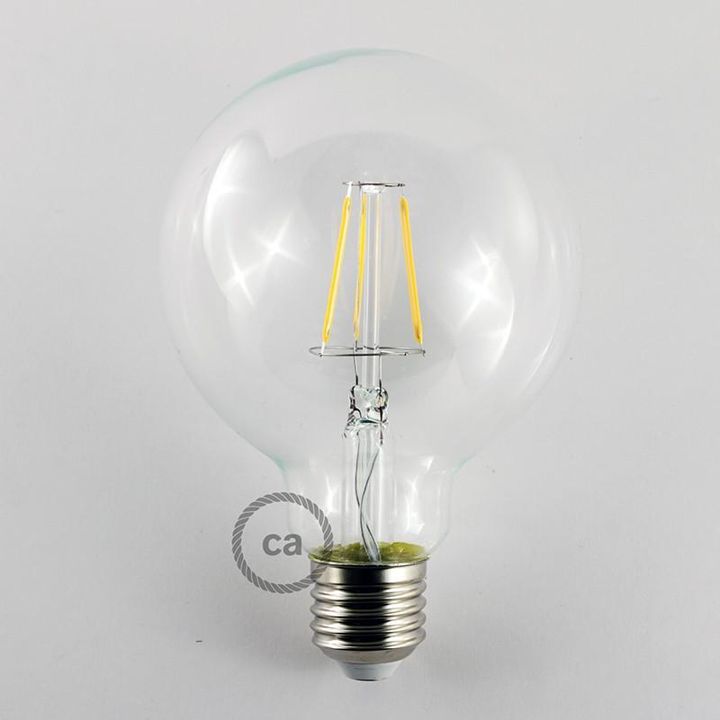 Ampoule Transparente LED Globe G95 Filament Court 4W E27 Vintage Décorative 2700K