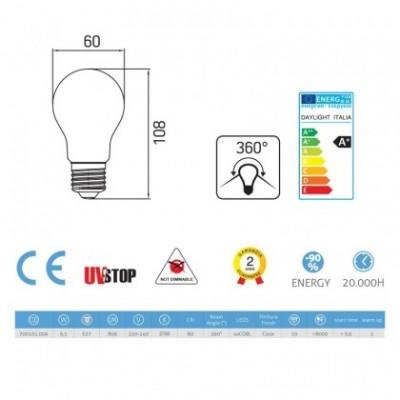Ampoule Filament LED Goutte 6.5W E27 Claire