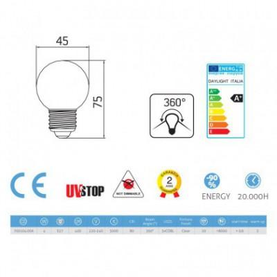 Ampoule Filament LED Sphère 4W E27 Claire