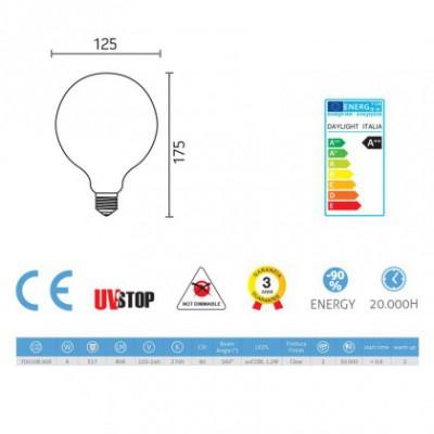 Ampoule Filament LED Globe 6W E27 Claire