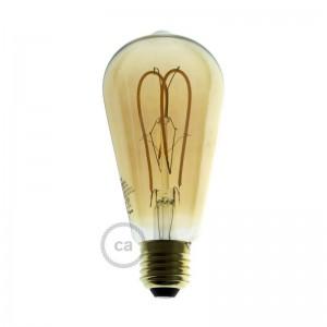 Ampoule Dorée LED - Edison ST64 Filament courbe avec Double Boucle 5W E27 Dimmable 2000K