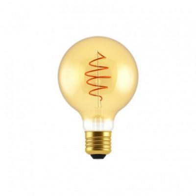Ampoule LED Globe G80 ligne Croissant dorée avec filament en spirale 5W E27 dimmable 2000K