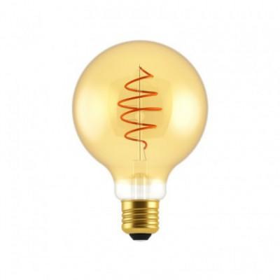 Ampoule LED Globe G95 ligne Croissant dorée avec filament en spirale 5W E27 dimmable 2000K